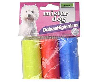Mister dog Bolsas de plástico colores recoge excrementos para perros 3 rollos
