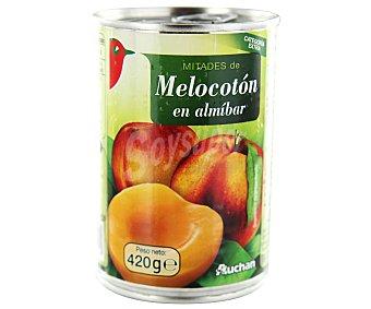 Auchan Mitades de melocotón en almíbar 240 gramos peso escurrido