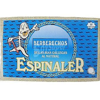 Conservas Espinaler Berberechos al natural de las rias gallegas 50 piezas lata 65 g neto escurrido Lata 65 g neto escurrido