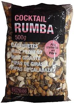 Hacendado Cocktail rumba ( cacahuete, maiz, garbanzos, pipas girasol y calabaza ) Paquete 500 g
