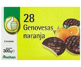 Productos Económicos Alcampo Galletas de bizcocho rellenas de naranja y recubiertas de una capa de chocolate negro 300 gramos
