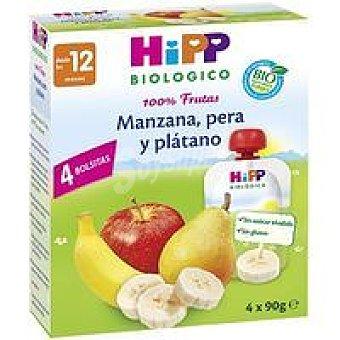 HiPP Biológico Puches Frutas - Manzana, pera y plátano 4x90 g