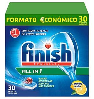 Finish Detergente lavavajillas maquina todo en 1 original limon 30 pastillas