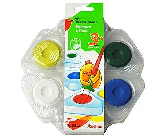 Auchan Caja con forma de flor con 6 acuarelas de diferentes colores auchan 6u