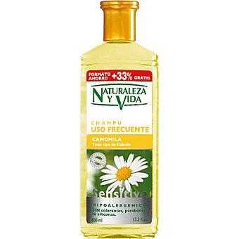 Natur Vital Champú Sensitive Camomila para todo tipo de cabello frasco 400 ml