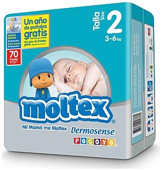 Moltex Pañales preimium para niños recién nacidos de 3 a 6 Kilogramos, Talla 2 70 Unidades