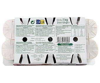 Auchan Yogur con bifidus desnatado con ciruela-fresa 8 unidades de 125 gramos