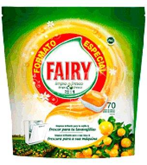 Fairy Lavavajillas Máquina Original Todo en Uno en cápsulas Formato Especial Cítricos 70 ud