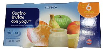 HACENDADO Tarrito 4 frutas con yogur a partir de 6 meses 2 unidades de 200 g