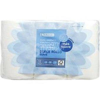 Eroski Papel higiénico suave doble rollo Paquete 12 rollos