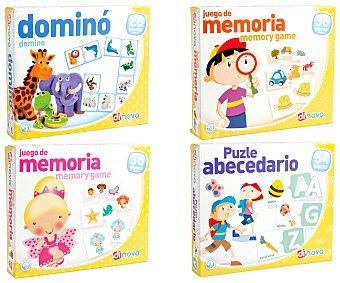 DINOVA Juegos didácticos escolares, dominó, puzzle abecedario, juego de memoria.. 1 unidad