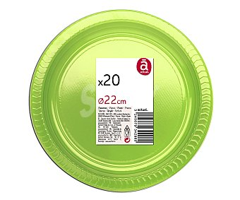 ACTUEL Platos desechables color verde, 22 centímetros de diámetro 20 unidades