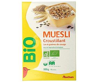 Auchan Muesli crujiente de lino y calabaza ecológico 500g