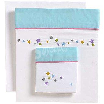 DOMBI Estrellas Juego de sábanas bordado con cenefa en azul para cuna