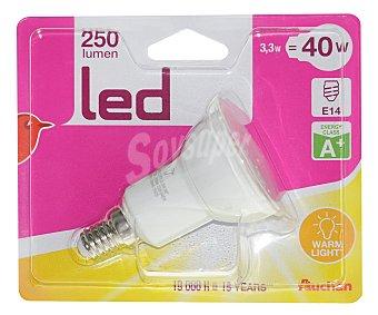 Auchan Foco led reflector 3.3 Watios, con casquillo E14 (fino) y luz cálida 1 unidad