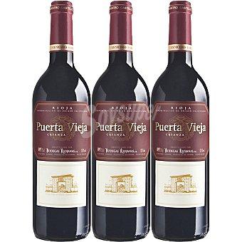PUERTA VIEJA vino tinto crianza D.O. Rioja caja con regalo de una bandeja de metal 3 botellas 75 cl