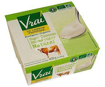 Vrai Yogur cremoso natural ecológico Pack de 4 unidades de 100 gramos