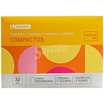 Eroski Tampón con aplicador compacto regular Caja 32 unid
