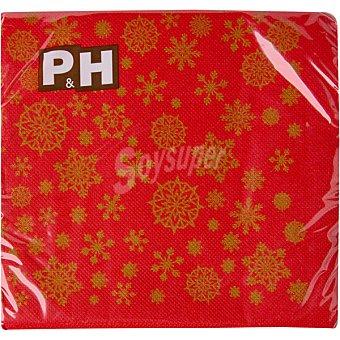 P & H Servilletas decorado Copos de Navidad 3 capas 33X33 cm Paquete 30 unidades