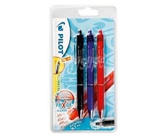 Pilot Lote de 3 bolígrafos retráctiles del tipo roller, con punta media con grosor de escritura de 0.7 milímetros y tinta líquida borrable de color negro, azul y rojo Frixion ball clicker