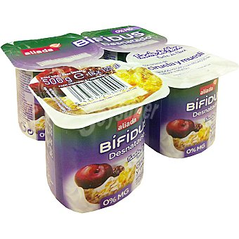 Aliada Yogur bífidus desnatado con trozos de ciruela y muesli pack 4 unidades 125 g Pack 4 unidades 125 g