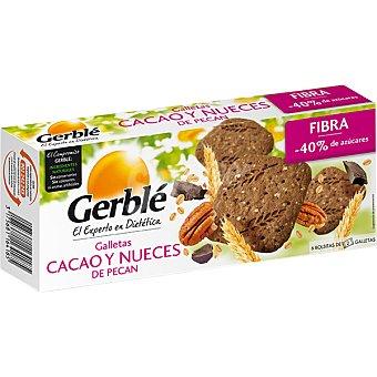GERBLE Galletas con cacao y nueces de pecán baja en azúcares 6 bolsitas (132 g)