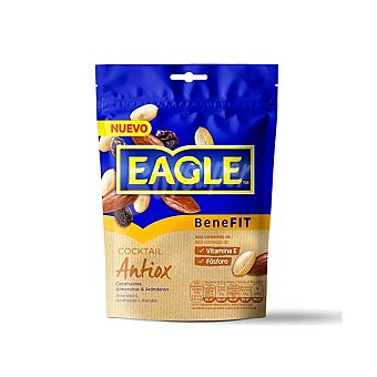 Eagle Cóctel antiox de cacahuetes, almendras y arándanos alto contenido en vitamina E y fósforo Bolsa 75 g