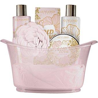 Guylond bañera grande Gold Love con gel de baño + loción corporal frasco 200 ml + sales de baño 50 ml + loción exfoliante 100 ml + esponja frasco 200 ml