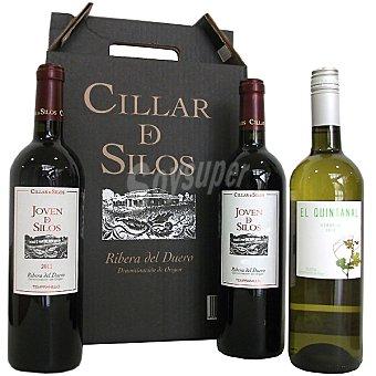 JOVEN DE SILOS Vino tinto joven D.O. Ribera del Duero Estuche 2 botellas 75 cl con regalo de El Quintanal verdejo D.O. Rueda botella 75 cl Estuche 2 botellas 75 cl