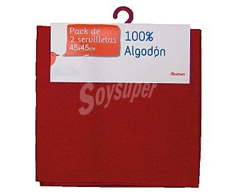 Auchan Pack de 2 servilletas lisas de algodón, color rojo, 45x45 centímetros 1 Unidad