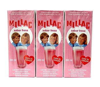 Millac Batido de fresa Pack de 3 uds