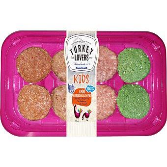 TURKEY LOVERS Kids mini hamburguesa de pavo 8 unidades bandeja 240 g 2 naturales + 2 espinacas + 2 zanahorias + 2 pimientos bandeja 240 g