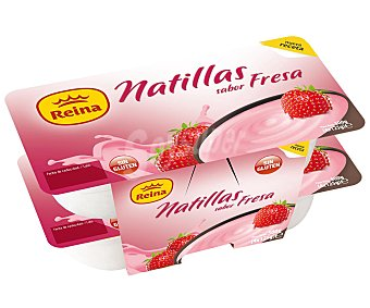 Reina Natillas sabor fresa, sin gluten Pack 4 Unidades de 125 Gramos