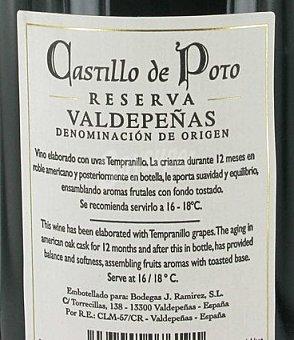 CASTILLO DE POTO Vino Tinto de Valdepeñas Reserva Botella 75 Centilitros