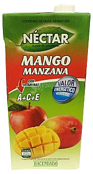 Hacendado Néctar mango manzana con valor energético reducido Brik de 2 l