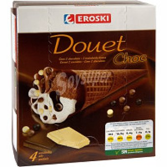 Eroski Cono Douet chocolate Pack 4x120 ml