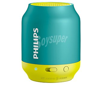 PHILIPS BT50A/00 Mini altavoz de batería, Bluetooth, color turquesa y amarillo