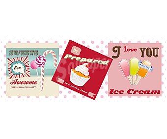 IMAGINE Cuadro con la divertida imagen de unos helados. Dimensiones 30x80Cm 1 Unidad