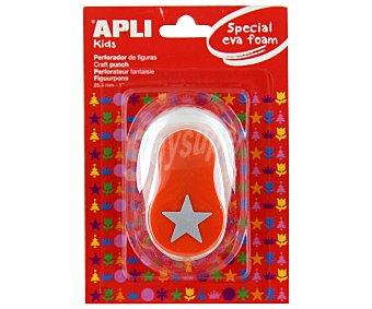 APPLI Perforadora de goma eva de color naranja y con forma de estrella apli