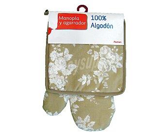 Auchan Conjunto de algodón, manopla y agarrador de cocina estampado floral color beige 1 Unidad.