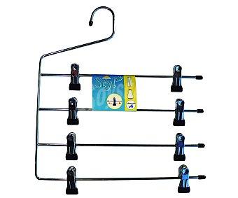 Rozenbal Percha metálica cromada para faldas y pantalones con 4 barras y pinzas 1 Unidad
