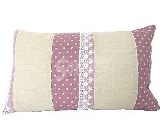 Auchan Cojín de lino color rosa con bordados y estampado topos color blanco, cierre de cremallera, 30x50 centímetros 1 unidad