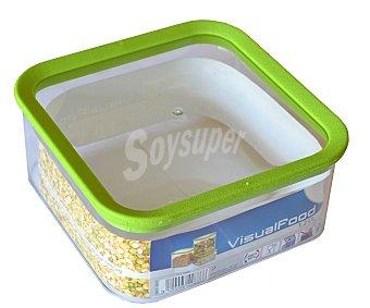 M-home Bote cuadrado de plástico para conservar alimentos secos, 1,2 litros de capacidad 1 unidad