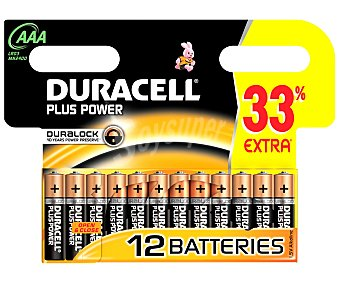 Duracell Pilas Alc LR03 AAA 1,5V Plus Power 12 unidades