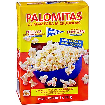 Hipercor Palomitas con sabor a mantequilla pack 3 envases 100 g Pack 3 envases 100 g