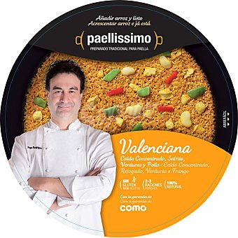 PAELLISSIMO Preparado para paella valenciana añadir arroz y listo 2-3 raciones bandeja de 375 g