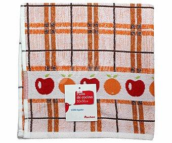 AUCHAN Paño de cocina de rizo, estampado color naranja, 50x50 centímetros 1 Unidad