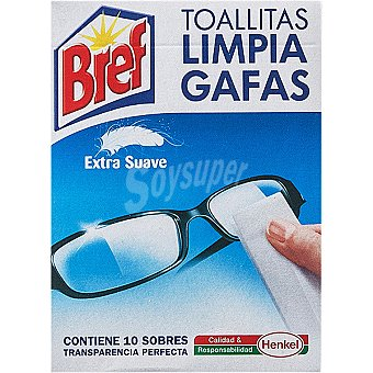 Bref WC Toallitas limpia gafas suaves Paquete 10 unidades