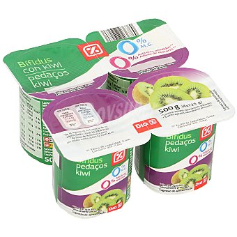 DIA Bífidus de kiwi 0% M.G pack 4 unidades 125 gr Pack 4 unidades 125 gr
