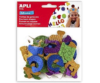 APLI Bolsa de 52 letras adhesivas de goma eva con purpurina y de diferentes colores 1 unidad